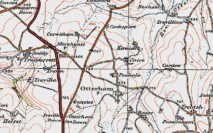 Old map of Caroe in 1919