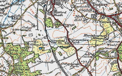 Old map of Carpenders Park in 1920