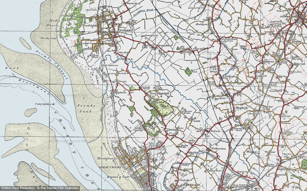 Old Map of Historic Map covering Baines Bridge in 1923