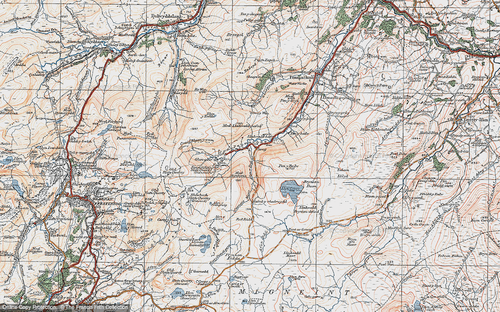 Old Map of Historic Map covering Afon y Foel in 1922