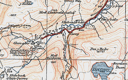 Old map of Cwm Penmachno in 1922