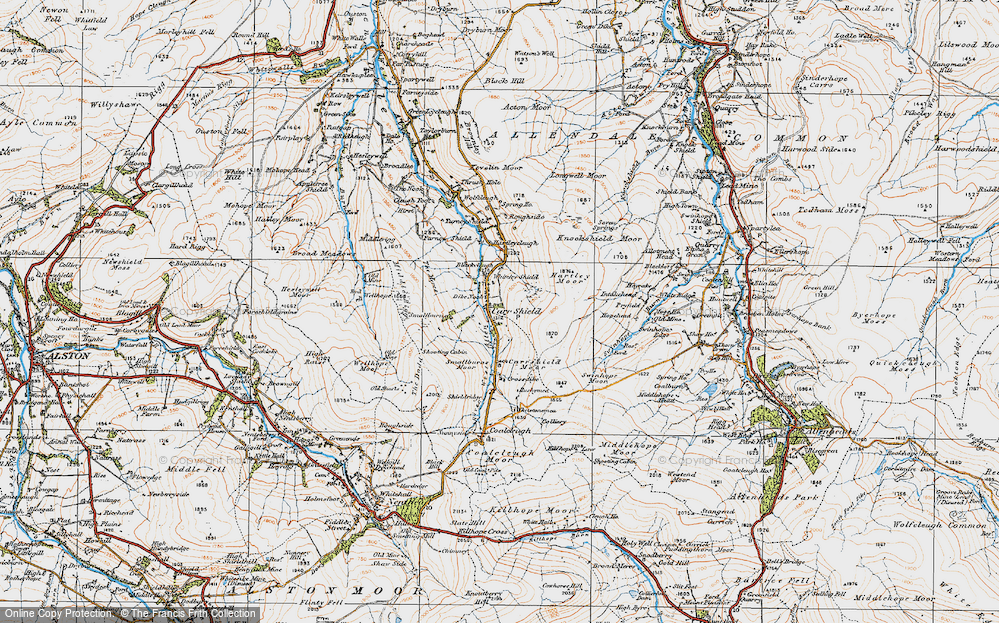 Old Map of Carrshield, 1925 in 1925