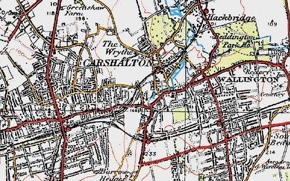 Old map of Carshalton in 1920