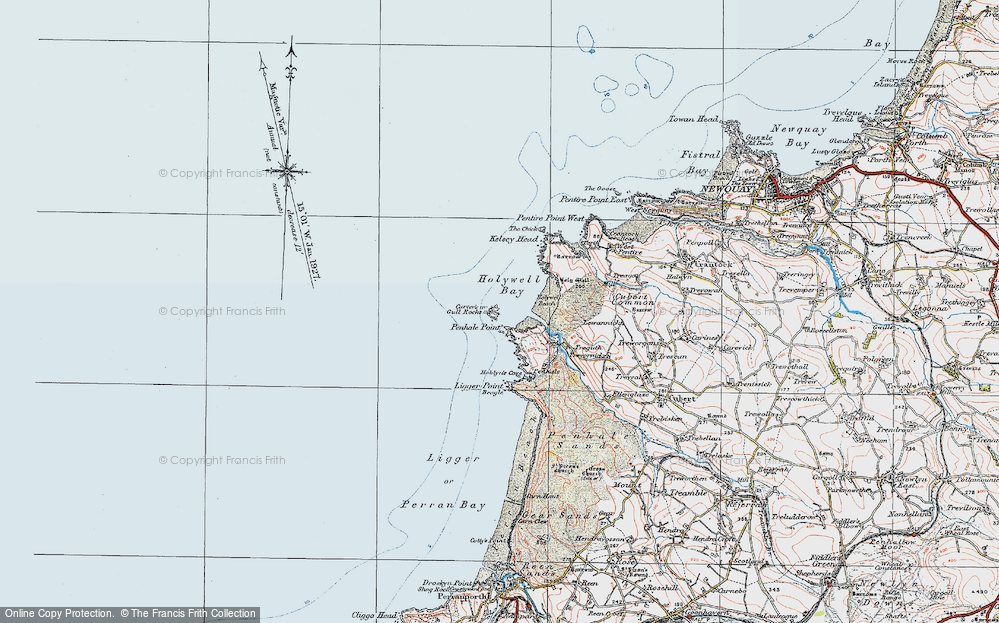 Old Map of Historic Map covering Ligger Point in 1919