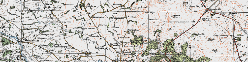 Old map of Whittle in 1925