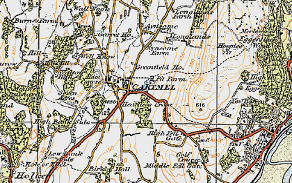 Old map of Aynsome Manor (Hotel) in 1925
