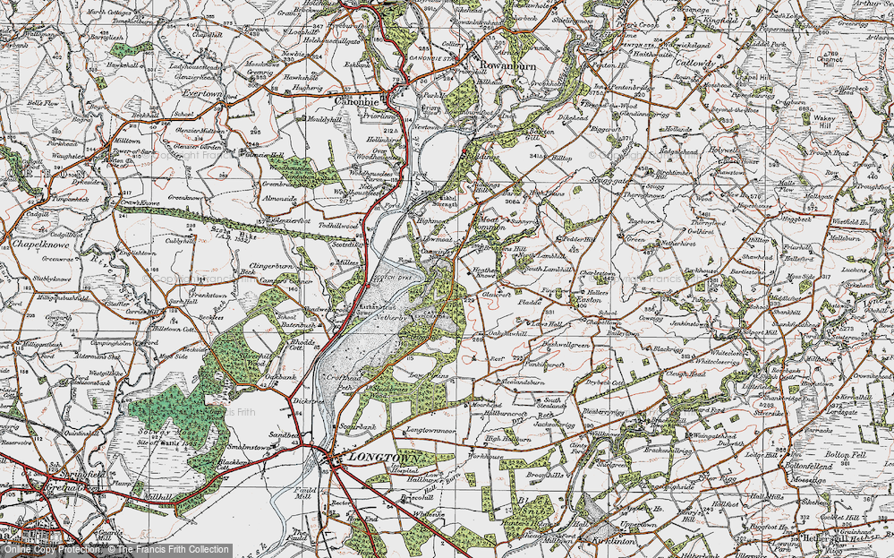 Old Map of Historic Map covering Todhillwood in 1925