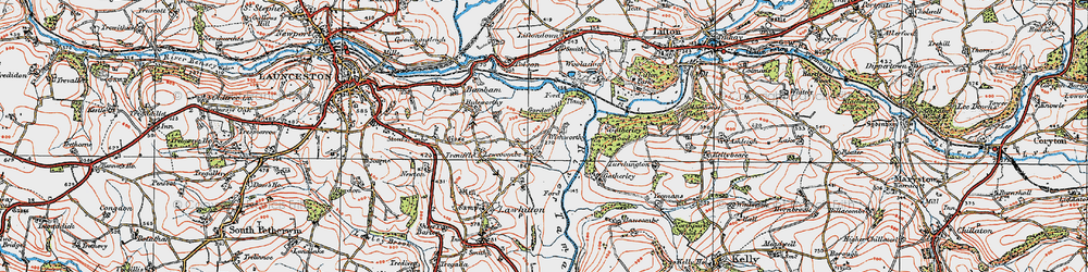 Old map of Wishworthy in 1919