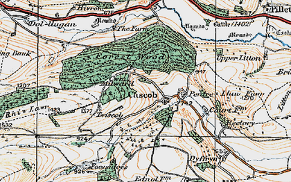 Old map of Cascob in 1920
