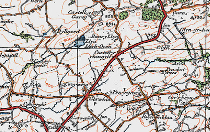 Old map of Castell-y-rhingyll in 1923