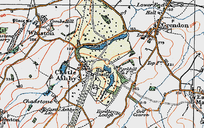 Old map of Castle Ashby in 1919