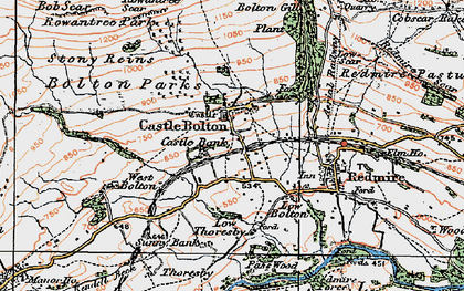 Old map of Castle Bolton in 1925