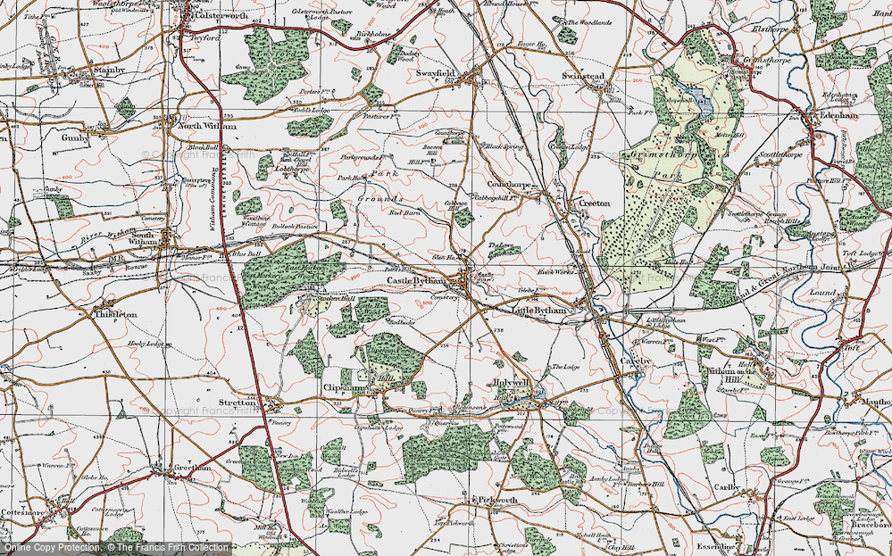 Old Map of Castle Bytham, 1922 in 1922