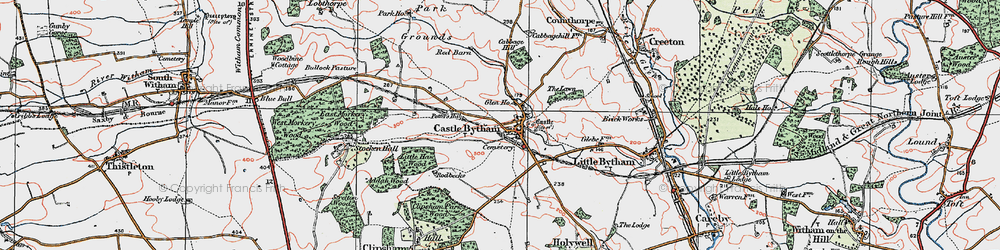 Old map of Castle Bytham in 1922
