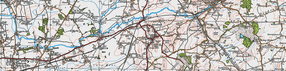 Old map of Castle Cary in 1919