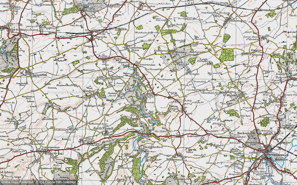 Old Map of Castle Combe, 1919 in 1919