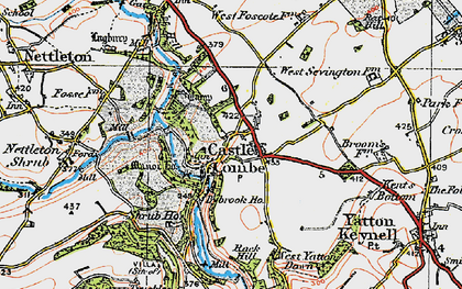 Old map of Castle Combe in 1919
