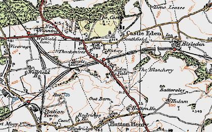 Old map of Castle Eden in 1925