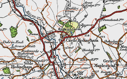 Old map of Castle Hedingham in 1921