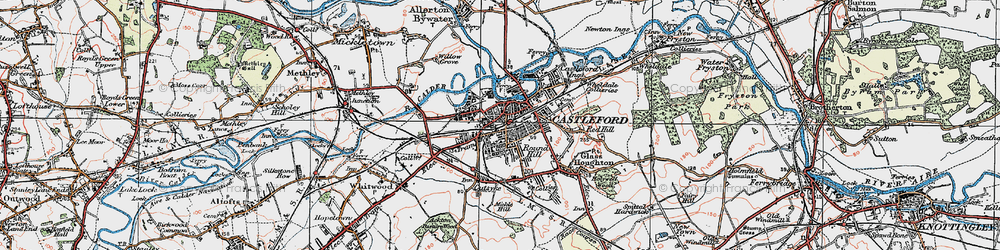 Old map of Castleford in 1925