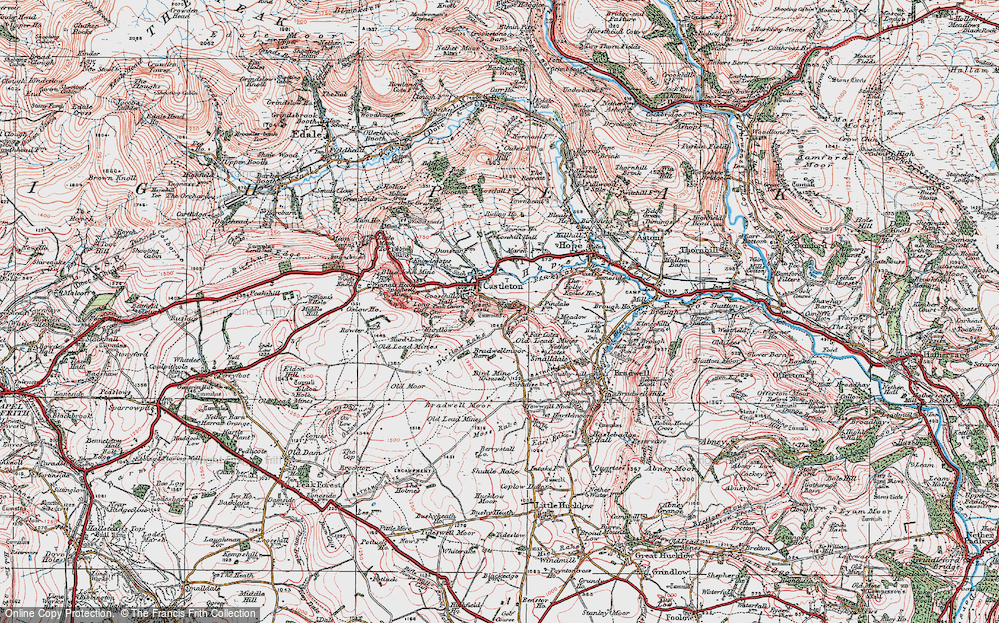 Old Map of Historic Map covering Limestone Way in 1923