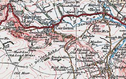 Old map of Limestone Way in 1923
