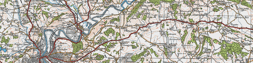 Old map of Cat's Ash in 1919