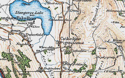 Old map of Cathedine in 1919