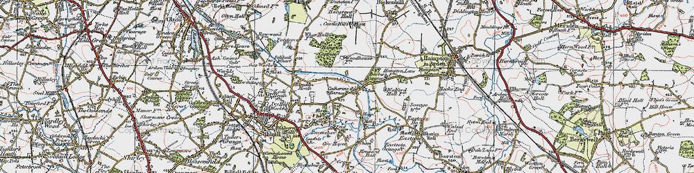 Old map of Catherine-de-Barnes in 1921