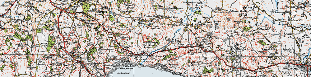 Old map of Wootton Cross in 1919