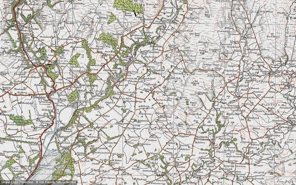 Old Map of Historic Map covering Liddel Park in 1925