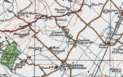 Old map of Caulcott in 1919