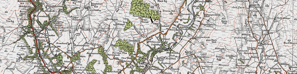 Old map of Tinnisburn Forest in 1925