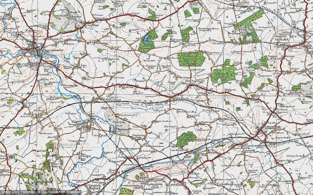 Old Map of Historic Map covering Woodbridge Brook in 1919