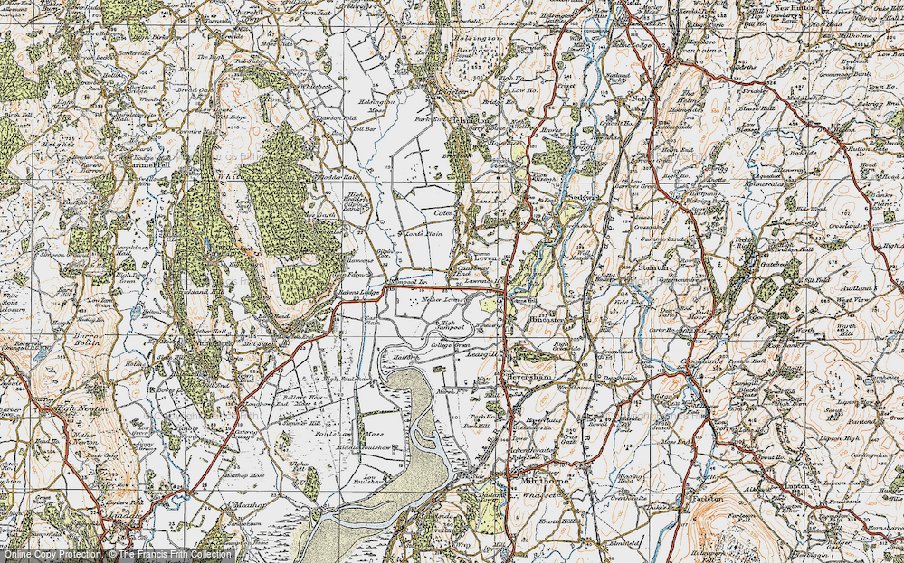 Old Map of Historic Map covering Levens Hall in 1925