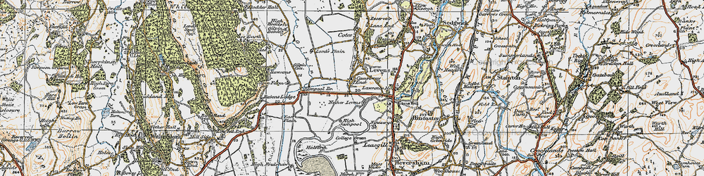Old map of Levens Hall in 1925