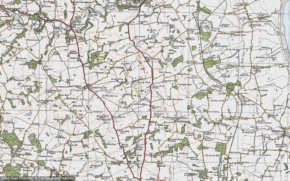 Old Map of Historic Map covering Tindale Hill in 1925