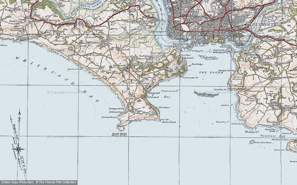 Old Map of Cawsand, 1919 in 1919