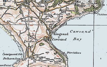 Old map of Cawsand in 1919