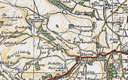 Old map of Cefn Canol in 1921