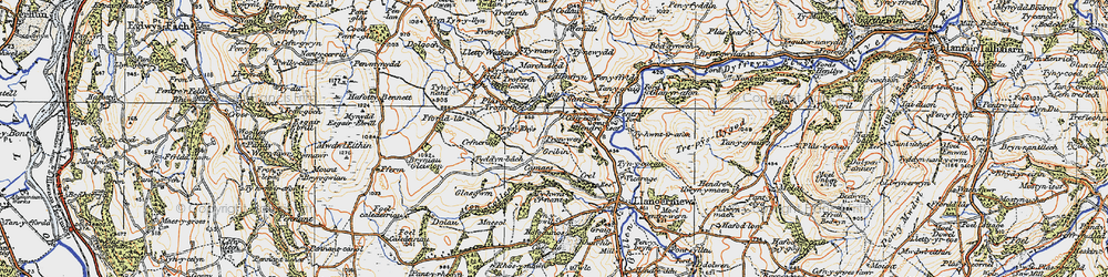 Old map of Ynys Rhys in 1922