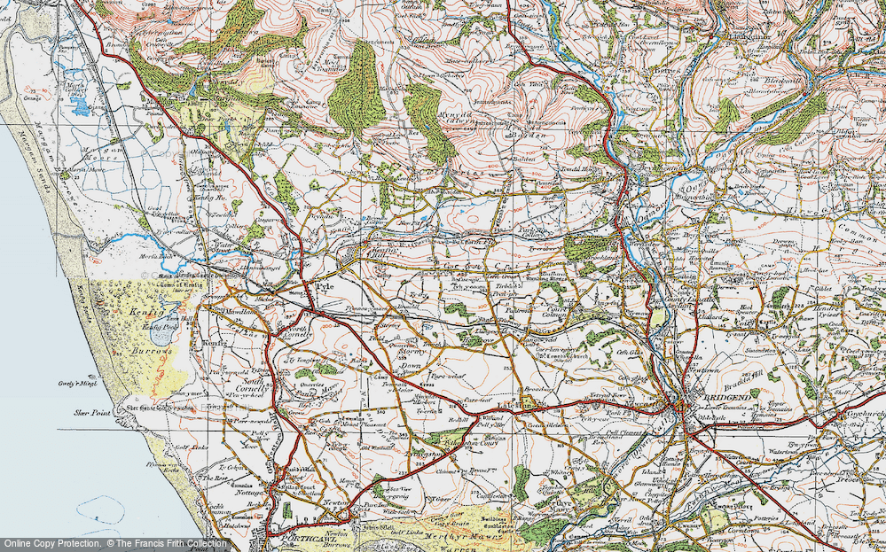 Old Map of Cefn Cribwr, 1922 in 1922