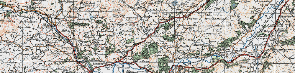 Old map of Afon Meloch in 1922