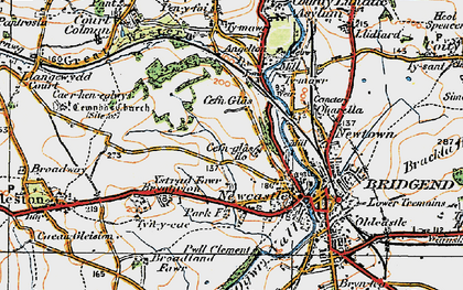 Old map of Cefn Glas in 1922