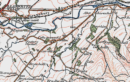 Old map of Abernant Lake in 1923