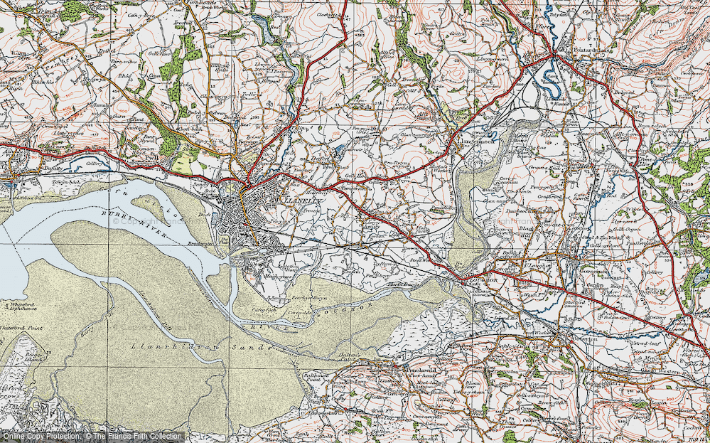 Old Map of Historic Map covering Tir Morfa in 1923
