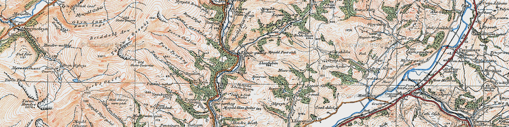 Old map of Aber Glesyrch in 1921