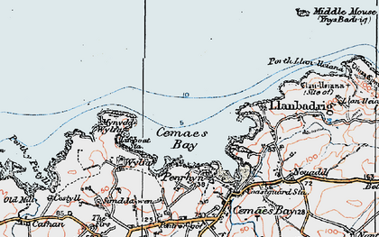 Old map of Cemaes Bay in 1922