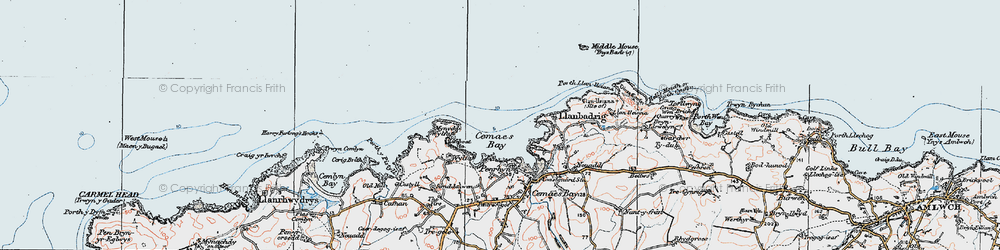 Old map of Wylfa Head in 1922