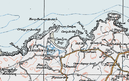 Old map of Cemlyn Bay in 1922